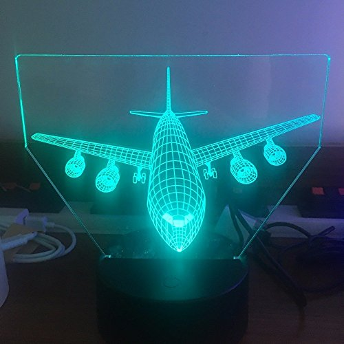HPBN8 3D Flugzeug Illusions LED Lampen Tolle 7 Farbwechsel Acryl berühren Tabelle Schreibtisch-Nacht Licht mit USB-Kabel für Kinder Schlafzimmer Geburtstagsgeschenke Geschenk.