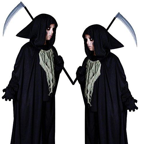 Costume pour Enfant Grim Reaper fantôme effrayant Halloween Costume 4-6ans