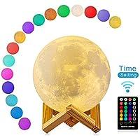 Lámpara de Luna 3D con Timer, DTOETKD 16 Colores RGB Luz Nocturna Luna LED Lámpara de Noche 15cm Remoto & Tactil Control Carga USB Regulable Luz de Noche Ambiente Lámparas para Niños Bebé Dormitorio Café Regalo de Decoración