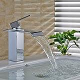 Auralum Einhebel Wasserhahn Armatur Waschtischarmatur Wasserfall Einhandmischer f. Küche (Size A)
