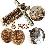 Juguetes Masticar Gato Palo (4 piezas) y Juguetes Menta Bola (2 piezas), Naturales Matatabi Sticks Catnip Juguetes Hierba Pelota Mascotas Gatito Cuidado Limpieza Dientes VOOA