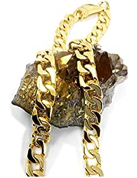 24K Gold Cuban Link Chain Necklace for Men Real 14MM 24ct Karat Diamond Cut Heavy w Solid Thick Clasp Hip Hop