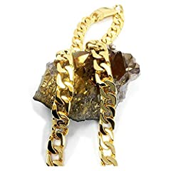 Idea Regalo - Collana a catenina cubana, da uomo, in oro 14k, larghezza: 14 mm, taglio: a diamante, con chiusura solida e spessa, stile hip-hop e Metallo placcato oro 25 ct, cod. NA
