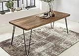 Massiver Esstisch HARLEM 120 x 80 cm Sheesham Massiv Holz | Esszimmertisch Massivholz mit Design Metall Beinen | Holztisch Tisch Esszimmer | Küchentisch