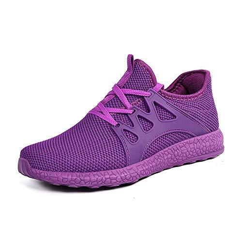 ZOCAVIA Herren Damen Sneaker Running Laufschuhe Sportschuhe rutschfeste Sneaker Lila 40 EU