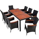 TecTake Poly Rattan Gartenmöbel Gartengarnitur Essgruppe Gartenset Sitzgruppe mit Holz Tischplatten 8+1 schwarz/braun