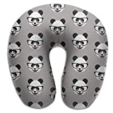 NDJHEH Almohadas para Cuello Neck Pillow Panda with Glasses Travel U-Shaped Pillow Soft Memory Neck Support for Train Airplane Sleeping