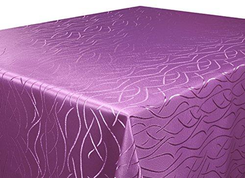 Tischdecke lila 90 x 90cm in glanzvoller Streifenoptik, eckig - Größe, Farbe & Form wählbar (Rund Eckig Oval) (Tischdecken Esstisch)
