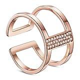 Sweetiee Damen fein Fashion 18K Rose Gold Plated Fine Designer Ring,mit AAA Zirkonia,17mm