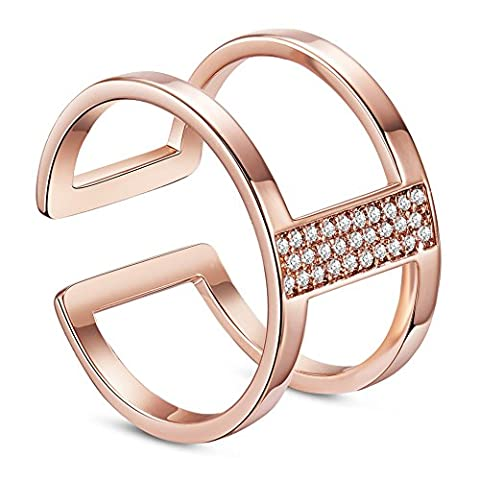 Sweetiee 925 Sterling Silver 18K Gold Plated Double Bands Cuff Ring with Micro Pave AAA Zircon for Woman Jewelry Rose Gold (17mm) Size