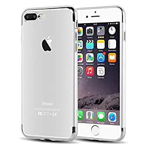 DORRON iPhone 7Plus Silver - NEW Shockproof* Anti Skid Electroplated Transparent Light Weight Impact Resistant Soft TPU Back Case Cover For iPhone 7 Plus (5.5 inches) - Silver (BL-5NOB-8VBL) (BL-5NOB-8VBL)