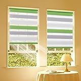 sanfree Doppelrollo Klemmfix Duo Rollo ohne Bohren Klemmrollo 60x120cm Grün-Grau-Weiß - lichtdurchlässig und Blickdicht Sicht- und Sonnenschutz für Fenster & Tür