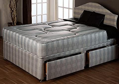 4ft Small Double x 7ft Extra Long Divan Bed Set with Ortho Firm Mattress Devan Set