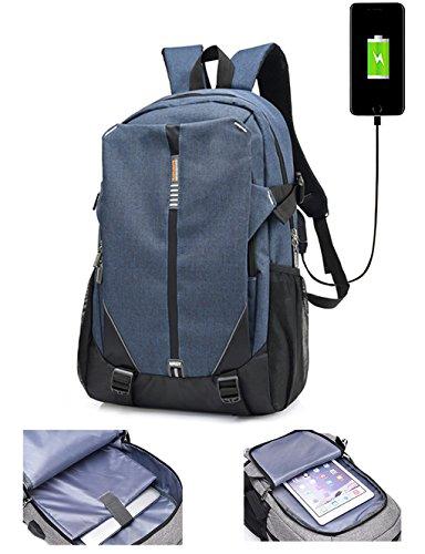 lemongirl Slim Laptop-Rucksack, Laptop Taschen mit Kopfhörer Port und USB Anschlüsse, die Reise BACKPCK für Damen und Herren blau blau Einheitsgröße