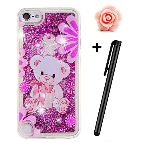 TOYYM Coque de protection en TPU transparente à paillettes flottantes pour Apple iPhone SE/5s/5 - Motif étoiles, cœurs Apple iPod Touch 5th 6th Generation Pink Beer Purple Bear