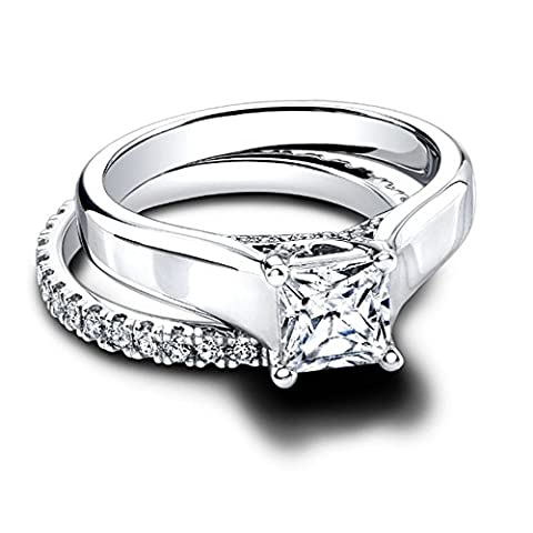 1.55Ct. Simulated Diamond BIS Hallmarked Gold Wedding Band Sets Princess Cut Solitaire Diamond Color D Clarity VVS1 Diamond Solid 14K White Gold Womens Engagement Ring Anniversary Gift (M)