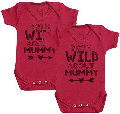 Baby Bunny Both Wild About Mummy Regalo para Gemelos bebé, Body para Gemelos bebé niño, Body para Gemelos bebé niña - 3-6 Meses Rojo