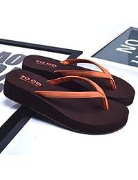 Flop antideslizante de la manera del verano de las mujeres Zapatillas suaves de goma únicas de la playa Zapatillas blancas / negro / oro / naranja ( Color : Naranja , Tamaño : EU36/UK4/CN36 )