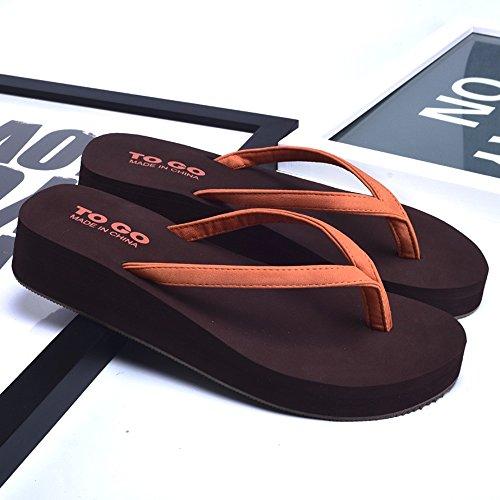 Donne sandali Flip flop antiscivolo di modo estivo delle donne Pantofole molle della suola di gomma Pantofole fresche della spiaggia Bianco / Nero / oro / arancio Confortevole ( Colore : Arancia , dim Arancia