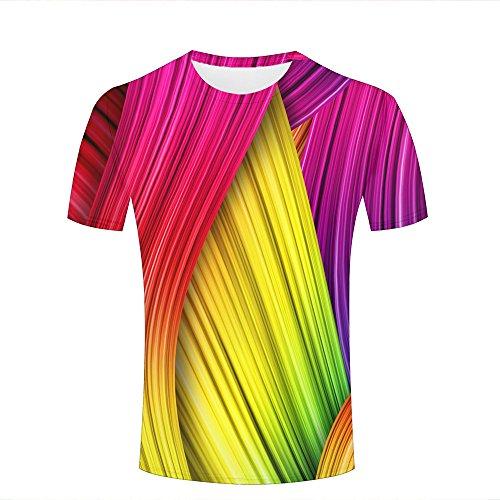 a447f026e8e33 Mens Novelty 3D Print Rainbow Creative Stripes Pattern Casual Short Sleeve T -Shirts Fashion Couple