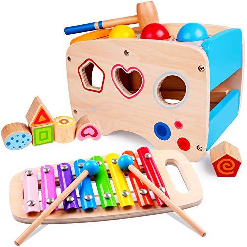 Rolimate Xylophon und Hammerspiel Spielzeug ab 1 Jahr, 3 in 1 Montessori Musikspielzeug Nachziehspielzeug Weihnachts Geburtstagsgeschenk fur Kinder Baby 1 2 3+ Jahre