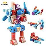 infinitoo UK-G2107 Ungiftige Holzbausteine Set - 100 Modelle Phantasie für Kinder ab 3 Jahren - Bauspielzeuge, Lernspielzeug, stapelbar, mit Anleitung (in englischer Sprache),Rot, 3-14 Jahre