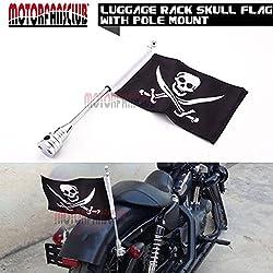 "motorfansclub Motorcycle Rear Side 15""de golf bandera Kit de montaje para Harley Davidson Honda Goldwing CB VTX CBR Yamaha equipaje accesorio de, Skull Flag"