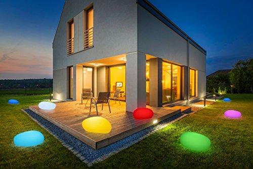 gartenkugeln led Bonetti LED Solar Gartenleuchte Stein/8 Farben/optionaler Farbwechsel/40 od. 50 cm/IP67/RGB/Solarlampe/Dekoleuchte/Außenleuchte/Gartenlampe/Dekostein/Leuchtstein/Stone (40 cm)