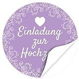 48 moderne Design Etiketten, rund / Lila / Hochzeit / Liebe / Herz / Einladung / Aufkleber / Sticker / Heiraten