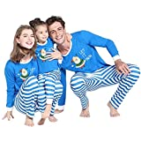Family Pyjamas Weihnachten Chill Out - FRAUIT Familie Weihnachten Schlafanzug Set, blau Nachtwäsche Eltern/Pap/Mutter/Kind/Baby Warm Weich Bequem eine glückliche Familie