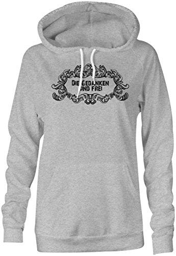 Die Gedanken Sind Frei ★ Hoodie Kapuzen-Pullover Frauen-Damen ★ hochwertig bedruckt mit lustigem Spruch ★ Die perfekte Geschenk-Idee (05) grau-meliert