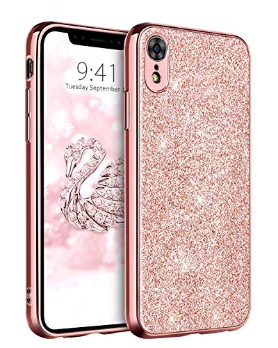 Bling Cover Case (DUEDUE iPhone XR Hülle, iPhone XR Glitzer Handyhülle Ultra-Slim Case Cover Schutzhülle, Bling Bling Handy-Tasche für iPhone XR - Rose Gold)