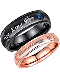 Moneekar Jewels High Quality 2pcs Her King His Queen Black & Rose Gold Titanium Stainless Steel Couple Rings For...