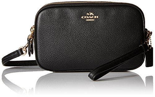 Damen Clutch Crossbody - Coach Pebble Schwarz Leder