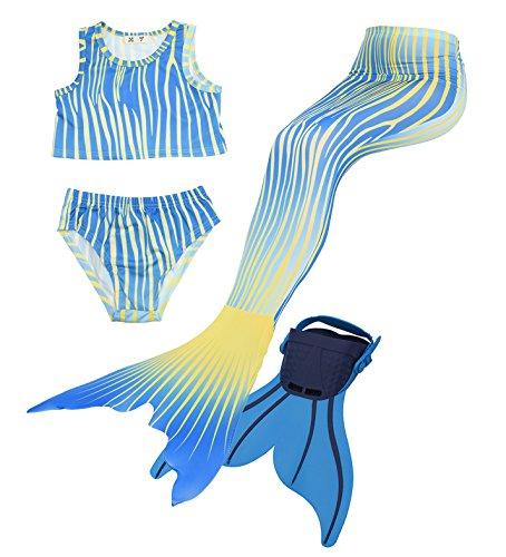 Guter-Handwerker Meerjungfrau Flosse zum schwimmen Meerjungfrauen Badeanzüge Bademode mit schwimmflossen Meerjungfrauenkostüm 4pcs Bikini Sets (Größe 110, Tochter des Meeres) (Einfach Unter Dem Meer Kostüme)