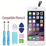 Penglai Sostituzione Schermo per iPhone 6 4,7 '' Bianco,Display Touch Digitizer Assembly con Strumenti di Riparazione per iPhone 6