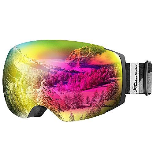 OutdoorMaster Skibrille Pro für Damen&Herren, Snowboardbrille mit magnetisch wechselsystem, OTG Schneebrille, Ski Goggles(Schwarzer Gurt VLT 17% Rose Gläser&Schutzhülle) -