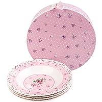 London Boutique - Juego de 4 cuencos de porcelana fina china para pasta de sopa, 23 cm, color rosa