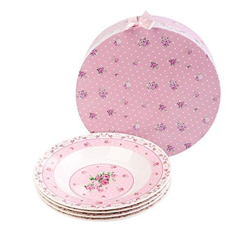 London Boutique en porcelaine Porcelaine bols à soupe Pâtes Large cerclé de Lot de 4 Boîte cadeau 22,9 cm 23 cm, Rose