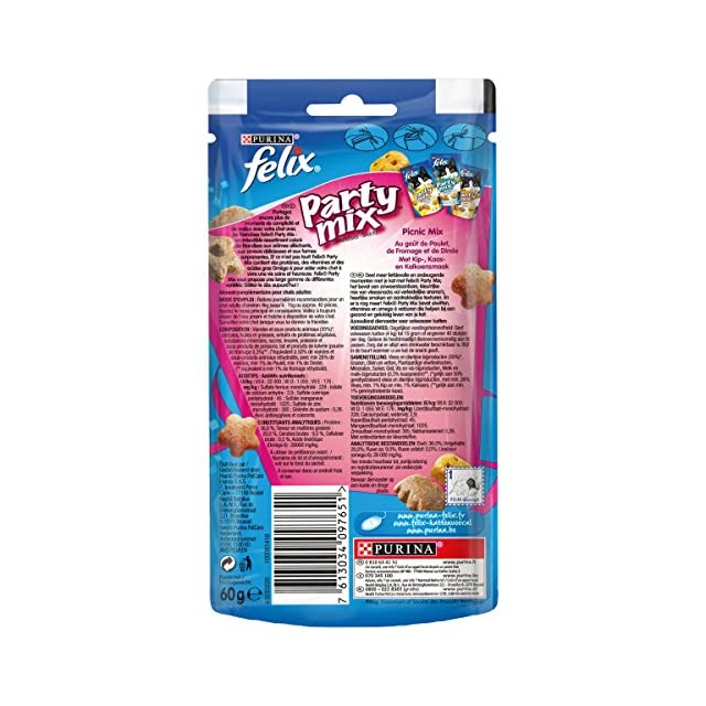 Felix Party Mix PicNic Mix : Poulet, Fromage, Dinde - 60 g - Friandises pour Chat - Lot de 8