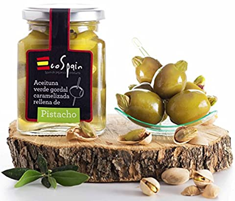 Green olive Gordal (big) stuffed with caramelized pistachio. Gourmet product 300 gr.