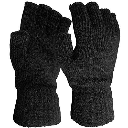 Herren Winter praktische Stretch warme thermische gestrickte fingerlose Half Finger Handschuhe