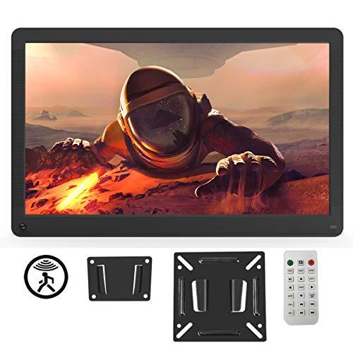 Digitaler Bilderrahmen 17 Zoll 1920x1080 HD IPS Display Elektronischer Bilderrahmen für Foto/Video/Wecker/Uhr/Kalender/Auto EIN/AUS Timer mit Bewegungssensor und Fernbedienung schwarz
