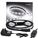 Ustellar Dimmable 5M LED Strips Lights Kit, 300 LEDs SMD 2835 Strip Lighting, 12V LED Tape, Non-waterproof, Daylight White, LED Ribbon with Power Adaptor for TV Backlight Kitchen Stairway Home Decoration