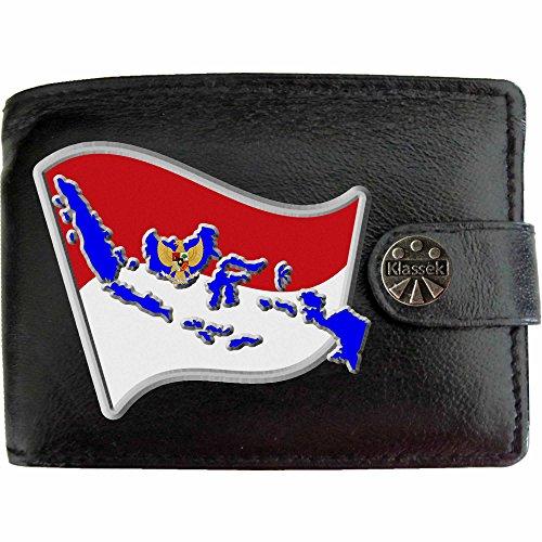 Indonesien Flagge KLASSEK Herren Geldbörse Portemonnaie Brieftasche Indonesisch Wappen aus echtem Leder schwarz Indonesia Geschenk Präsent Mit Metallbox -
