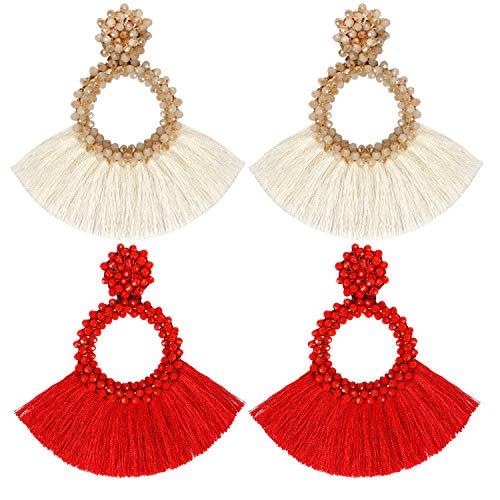 LlorenteRM 2 Paar Quasten Ohrringe Damen Hängende Ohrringe Mädchen Ohrschmuck Ohrstecker Boho Statement Ohrringe Runde Perlen Quaste Baumelnde Ohrringe Vintage Schmuck für Frauen (Weiß+Rot)