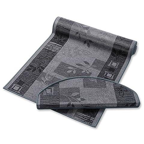 casa pura® Non-Slip Carpet Floor Runner, Floral Design - Grey | Over 50 Sizes | Matching Stair Treads Avail. (67 x 250