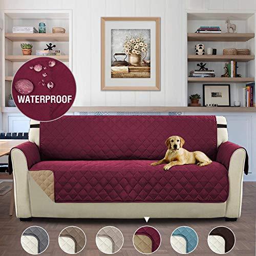 H.versailtex copridivano 3 posti impermeabile divano protector mobili coperture su due lati per cani/gatti letto con divano slipcovers 190 x 167cm, borgogna