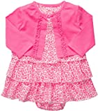 Carter's Bodykleidchen Kleid mit Bolero Babykleid mit Jacke Sommer Set Kombitation Outfit süß Bodykleid Kleid (68/74, pink/Weiss)