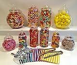 Kunststoffgläser mit Süßigkeiten, 10 Stück, gemischt, mit 2 Zangen, 2Löffeln, 100Taschen,...